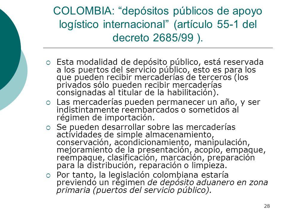COLOMBIA: depósitos públicos de apoyo logístico internacional (artículo 55-1 del decreto 2685/99 ).
