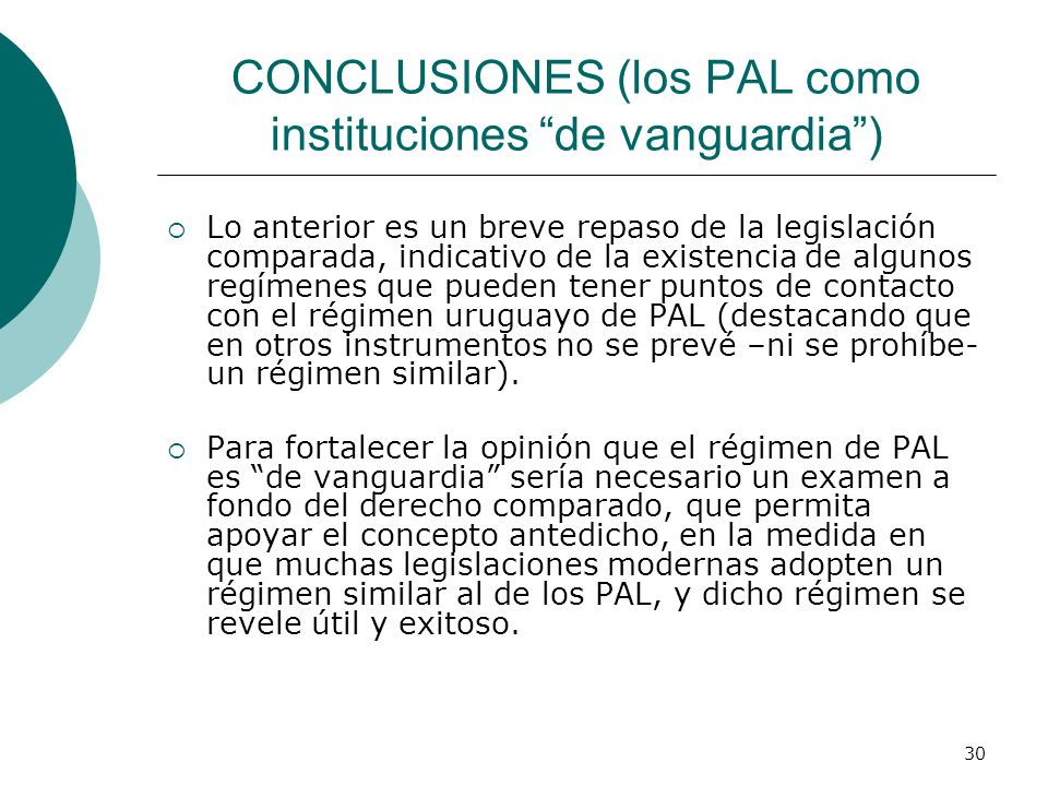 CONCLUSIONES (los PAL como instituciones de vanguardia )