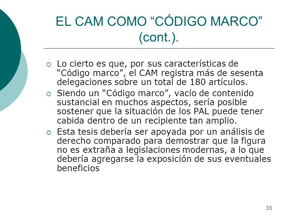 EL CAM COMO CÓDIGO MARCO (cont.).