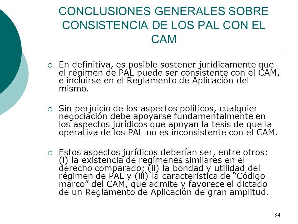 CONCLUSIONES GENERALES SOBRE CONSISTENCIA DE LOS PAL CON EL CAM