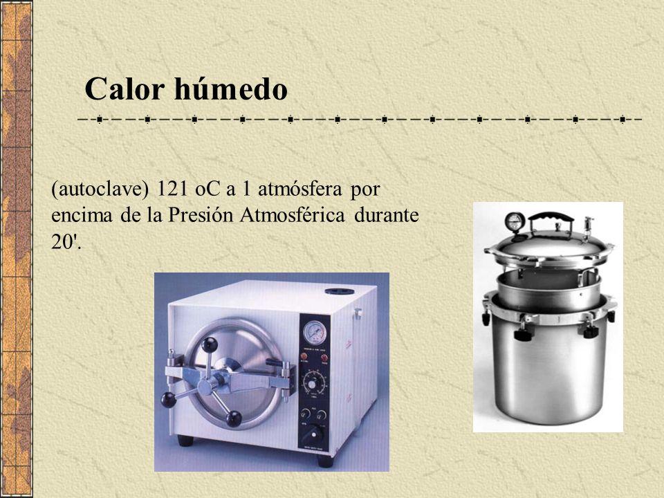 Calor húmedo (autoclave) 121 oC a 1 atmósfera por encima de la Presión Atmosférica durante 20 .