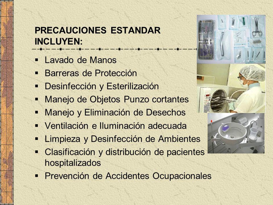PRECAUCIONES ESTANDAR INCLUYEN:
