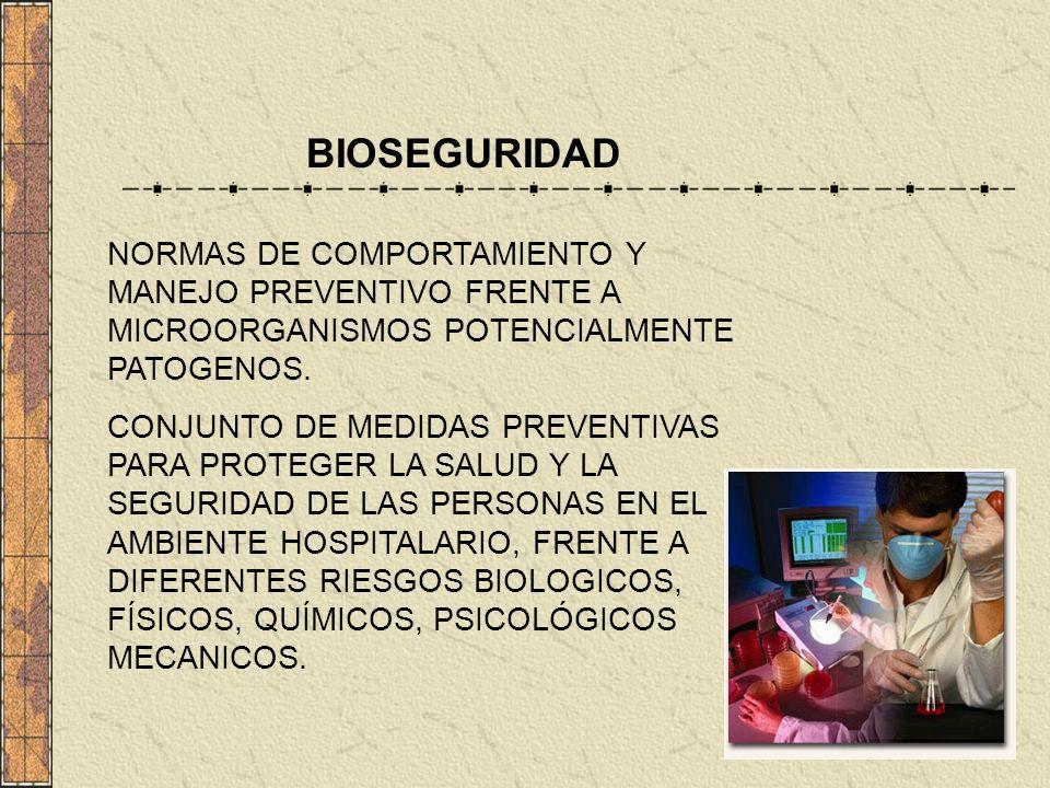 BIOSEGURIDAD NORMAS DE COMPORTAMIENTO Y MANEJO PREVENTIVO FRENTE A MICROORGANISMOS POTENCIALMENTE PATOGENOS.
