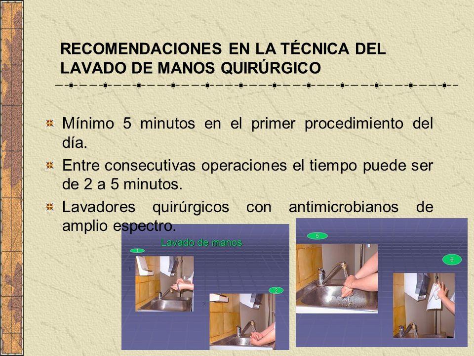 RECOMENDACIONES EN LA TÉCNICA DEL LAVADO DE MANOS QUIRÚRGICO