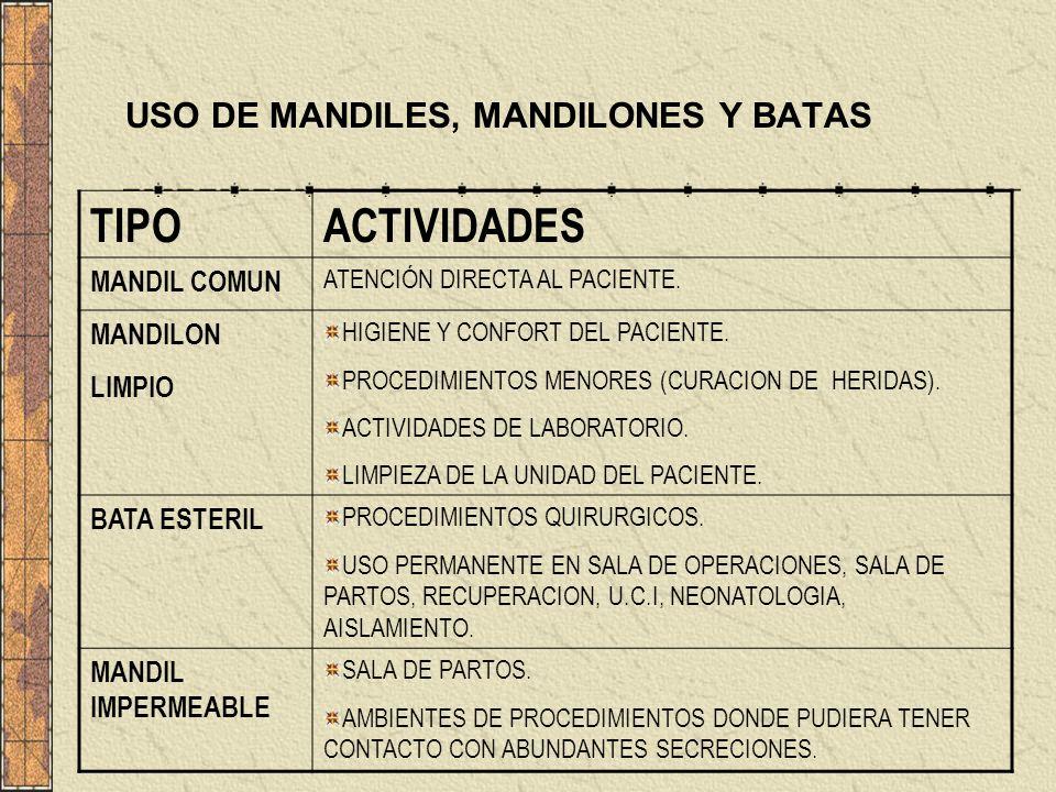 USO DE MANDILES, MANDILONES Y BATAS