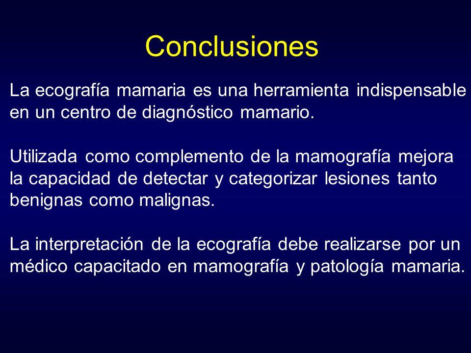 Conclusiones La ecografía mamaria es una herramienta indispensable