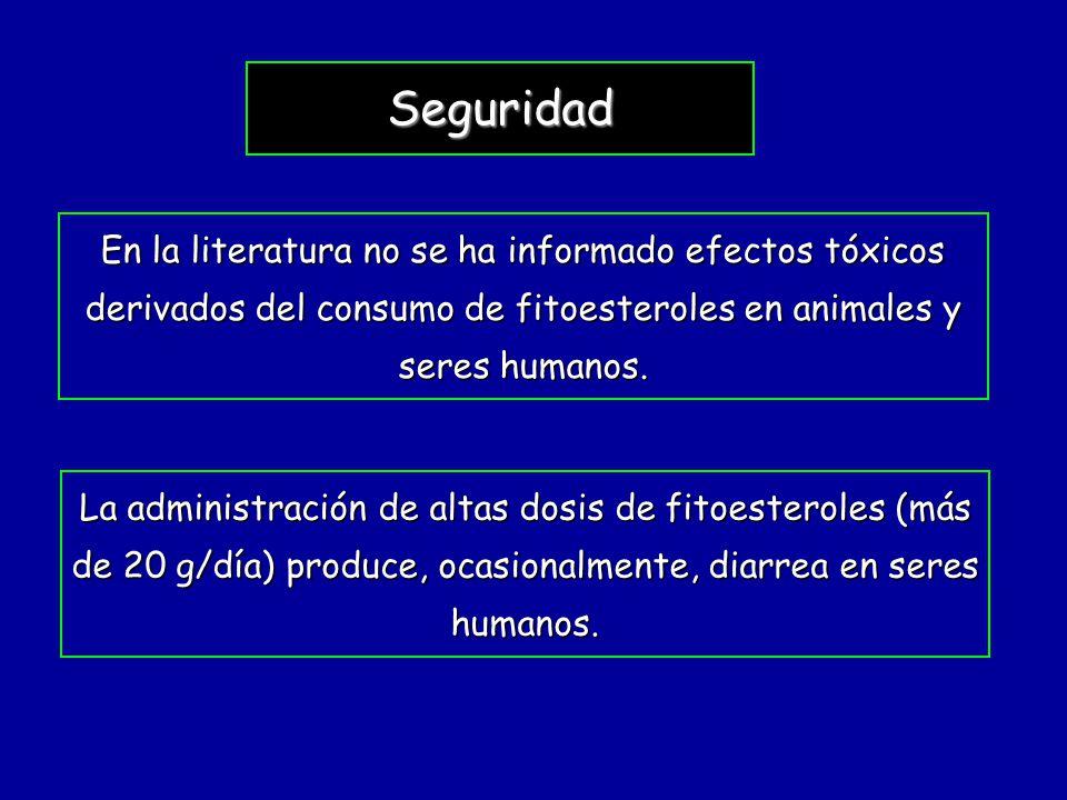 Seguridad En la literatura no se ha informado efectos tóxicos derivados del consumo de fitoesteroles en animales y seres humanos.