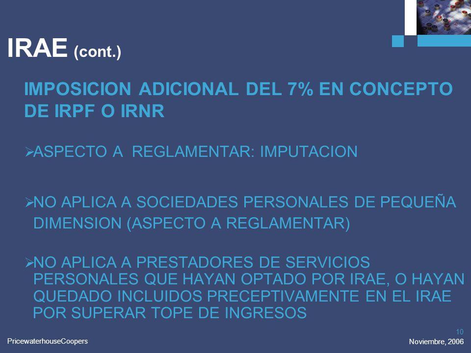IRAE (cont.) IMPOSICION ADICIONAL DEL 7% EN CONCEPTO DE IRPF O IRNR