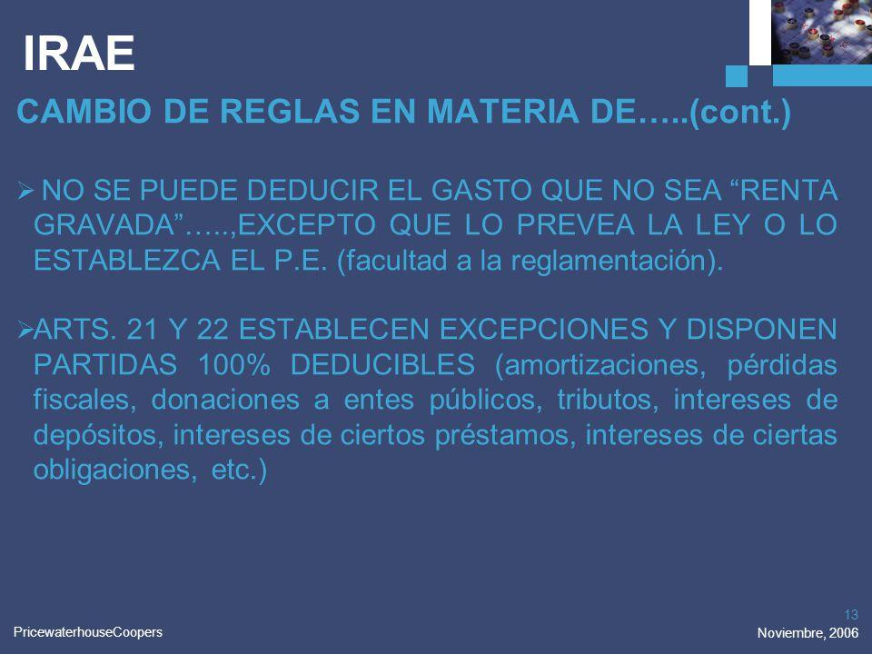 IRAE CAMBIO DE REGLAS EN MATERIA DE…..(cont.)