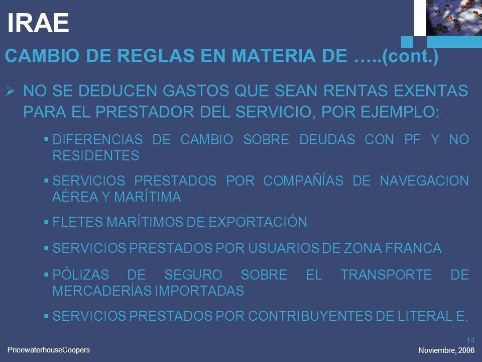 IRAE CAMBIO DE REGLAS EN MATERIA DE …..(cont.)