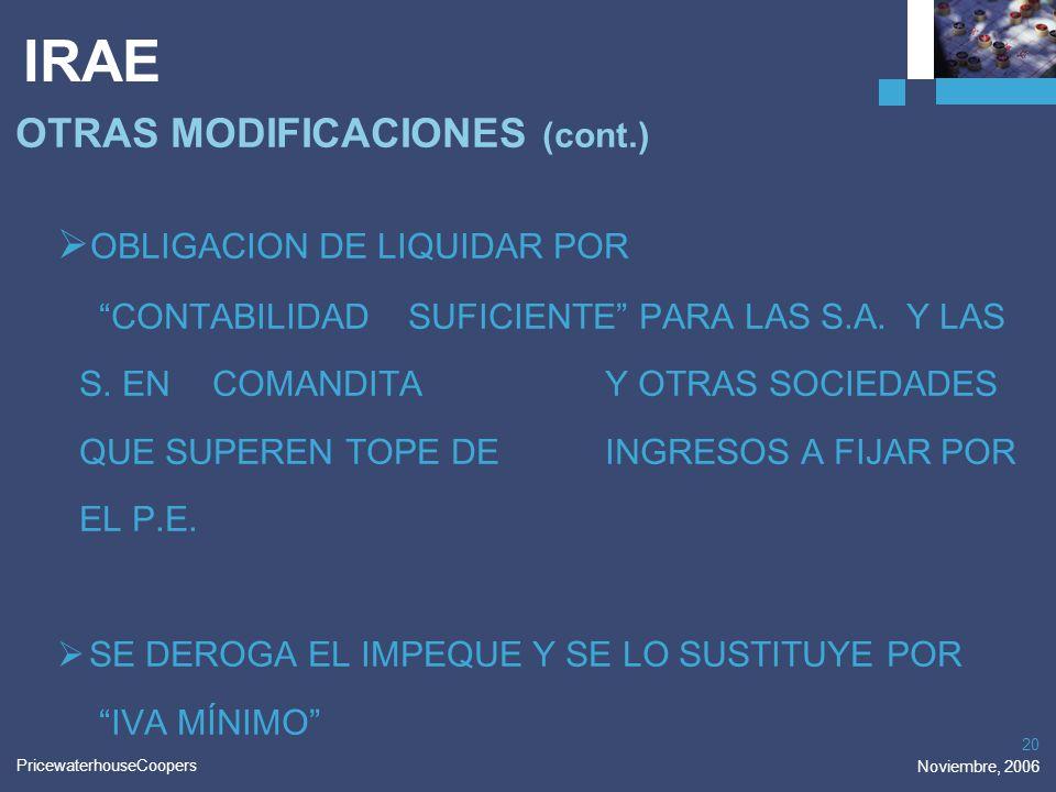 IRAE OTRAS MODIFICACIONES (cont.)