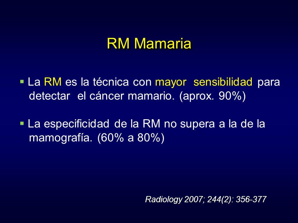 RM Mamaria La RM es la técnica con mayor sensibilidad para