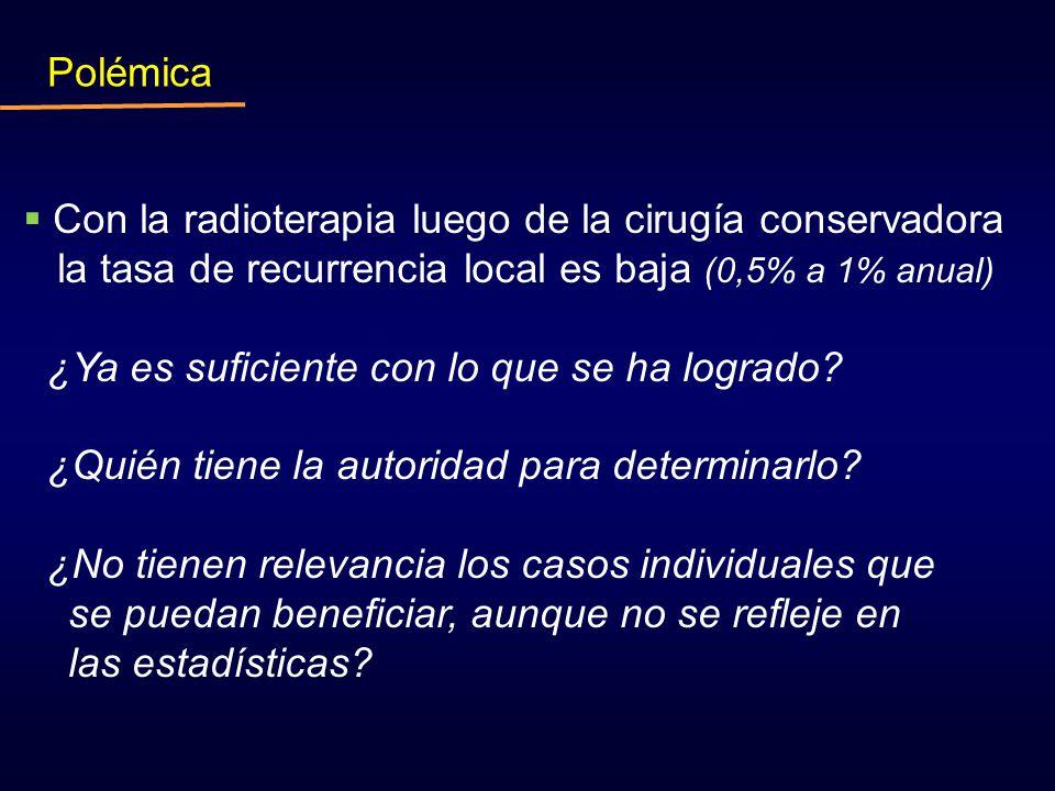 Polémica Con la radioterapia luego de la cirugía conservadora. la tasa de recurrencia local es baja (0,5% a 1% anual)