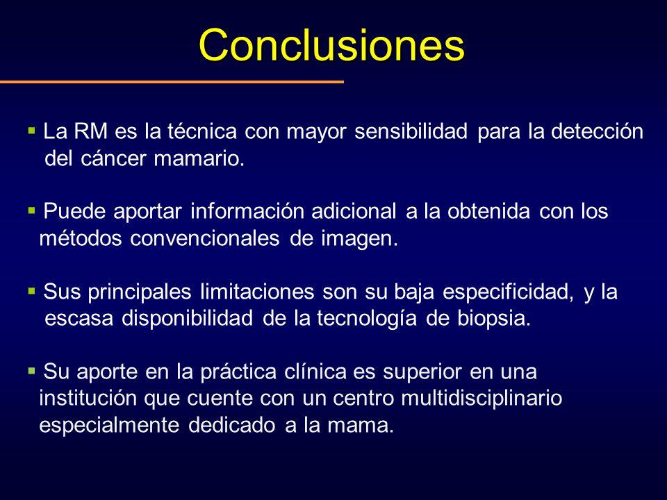 Conclusiones La RM es la técnica con mayor sensibilidad para la detección. del cáncer mamario.