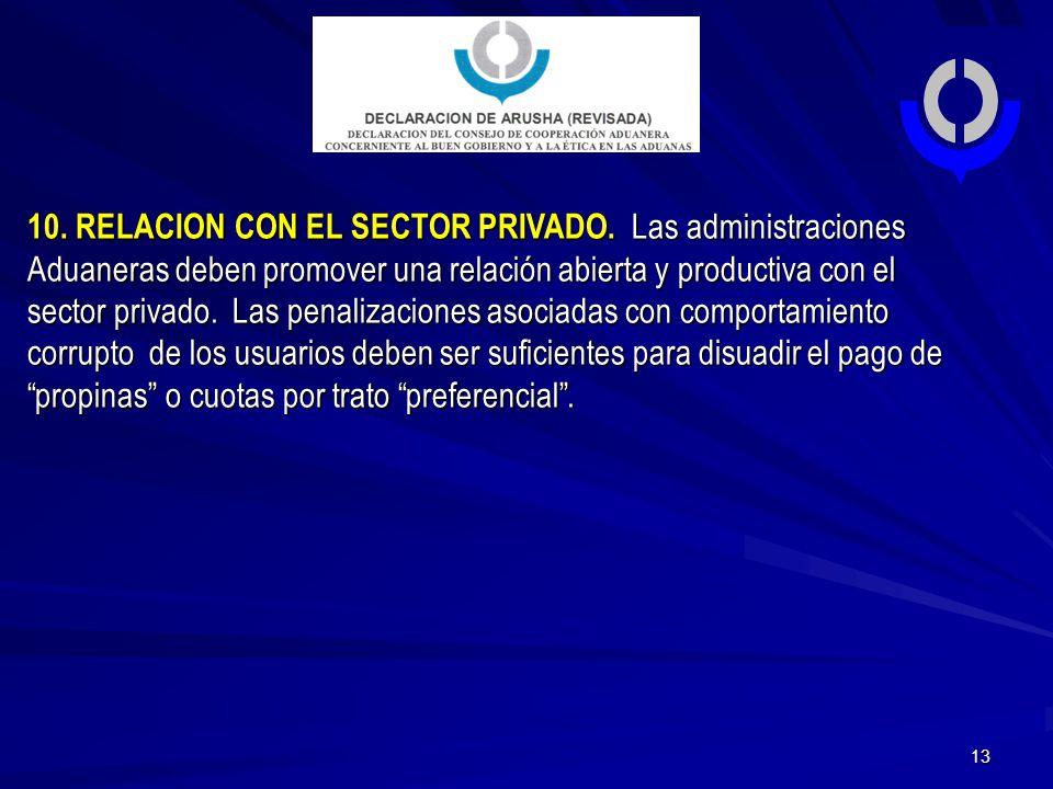 10. RELACION CON EL SECTOR PRIVADO