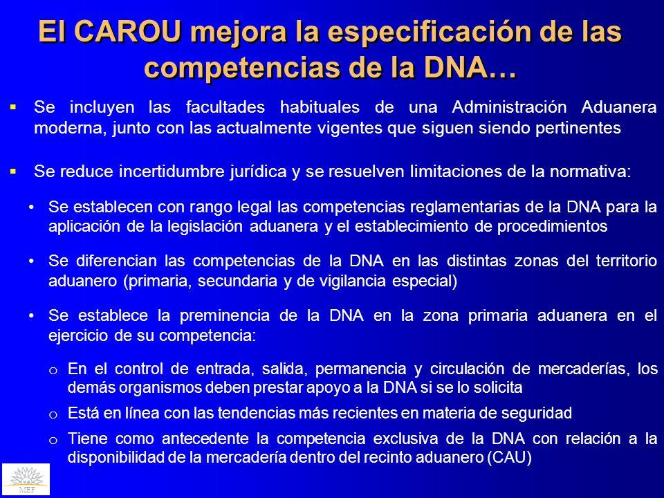 El CAROU mejora la especificación de las competencias de la DNA…