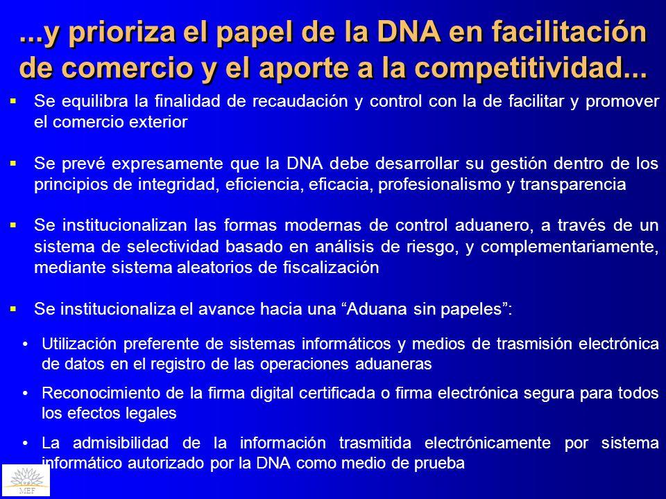 ...y prioriza el papel de la DNA en facilitación de comercio y el aporte a la competitividad...