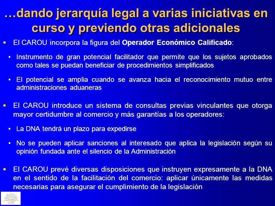…dando jerarquía legal a varias iniciativas en curso y previendo otras adicionales