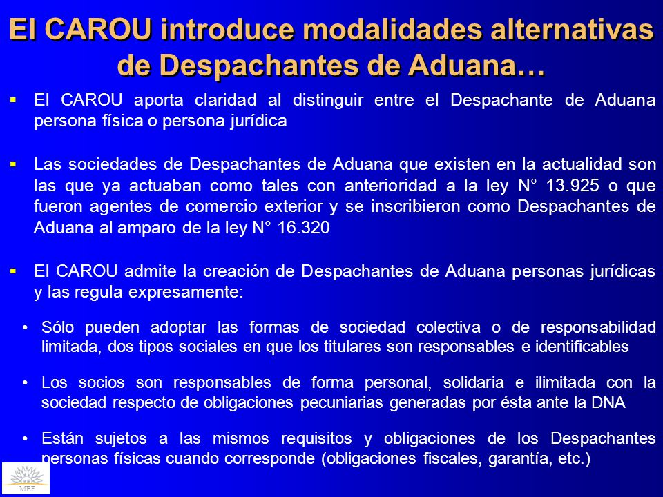El CAROU introduce modalidades alternativas de Despachantes de Aduana…