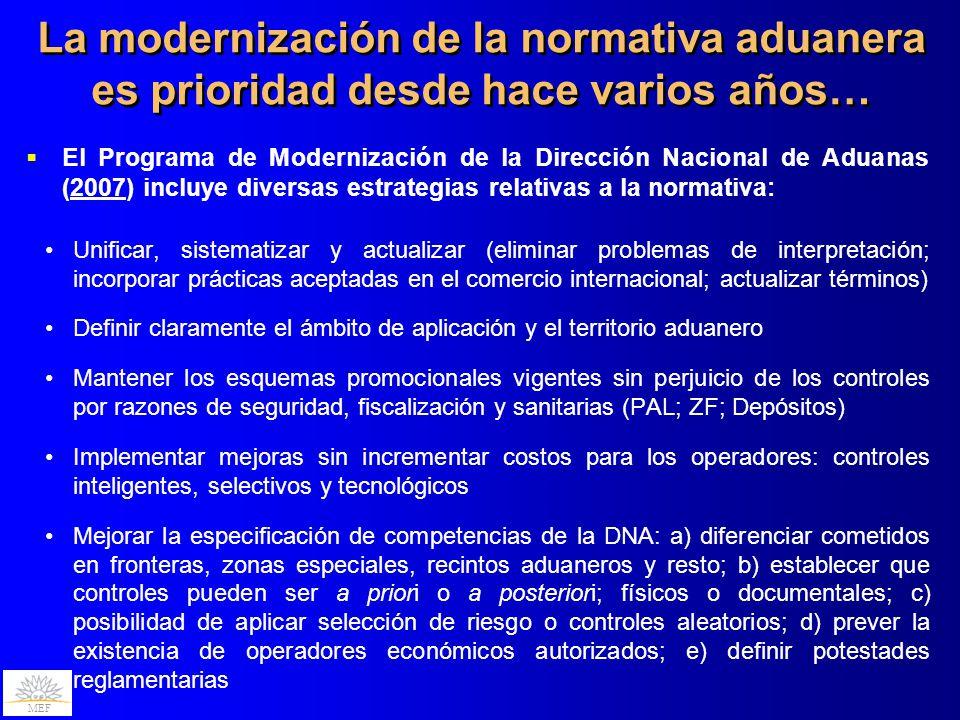 La modernización de la normativa aduanera es prioridad desde hace varios años…