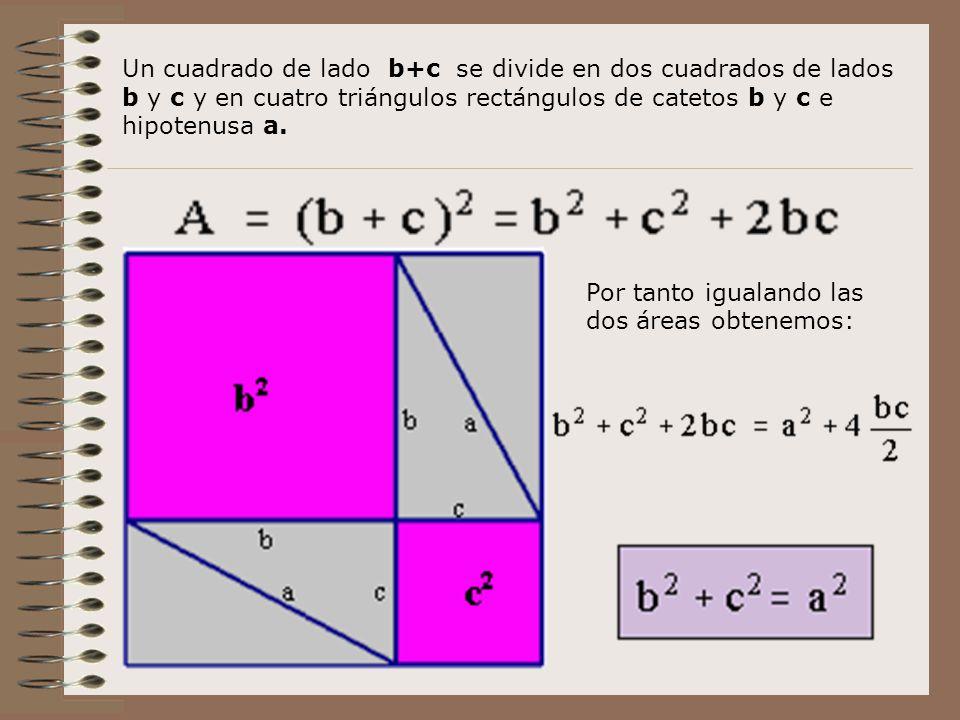 Un cuadrado de lado b+c se divide en dos cuadrados de lados b y c y en cuatro triángulos rectángulos de catetos b y c e hipotenusa a.