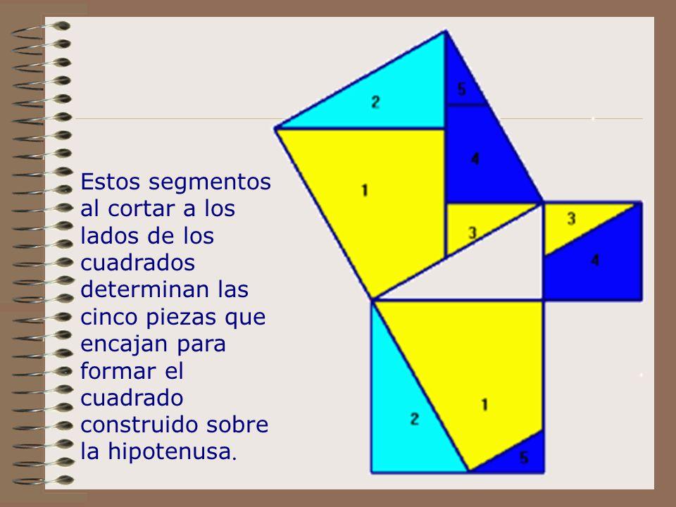 Estos segmentos al cortar a los lados de los cuadrados determinan las cinco piezas que encajan para formar el cuadrado construido sobre la hipotenusa.