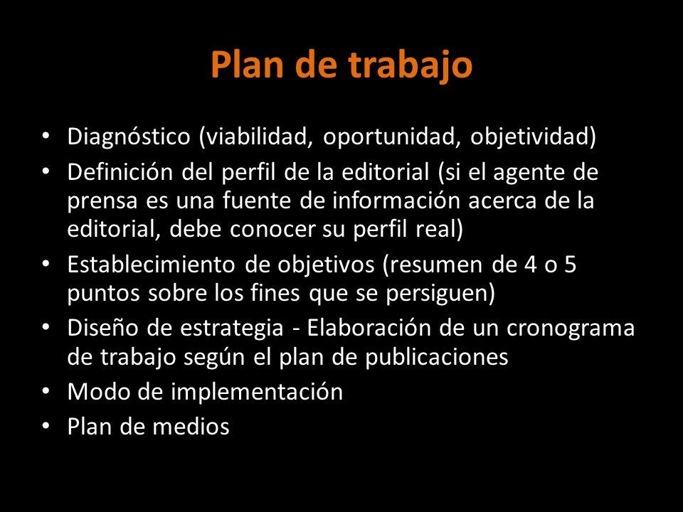 Plan de trabajo Diagnóstico (viabilidad, oportunidad, objetividad)