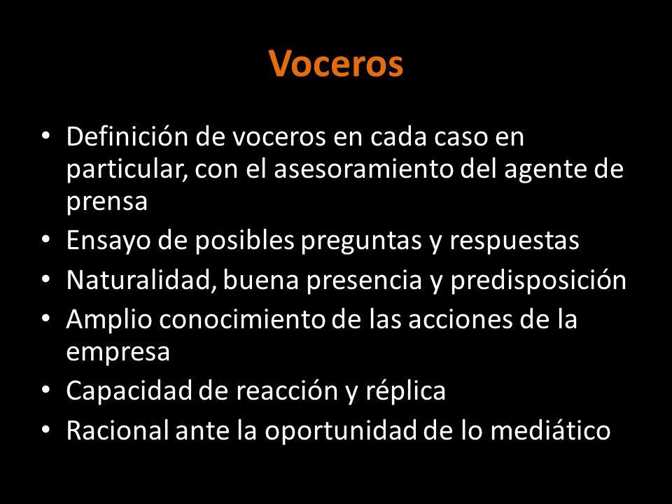 Voceros Definición de voceros en cada caso en particular, con el asesoramiento del agente de prensa.