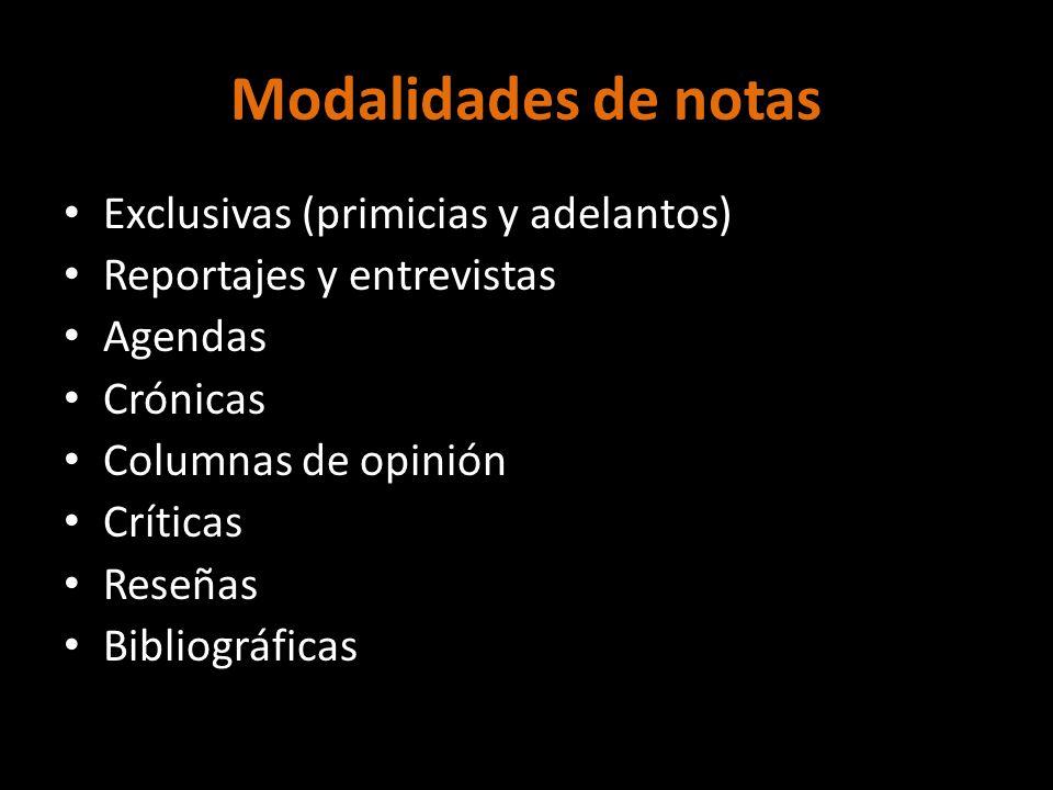 Modalidades de notas Exclusivas (primicias y adelantos)