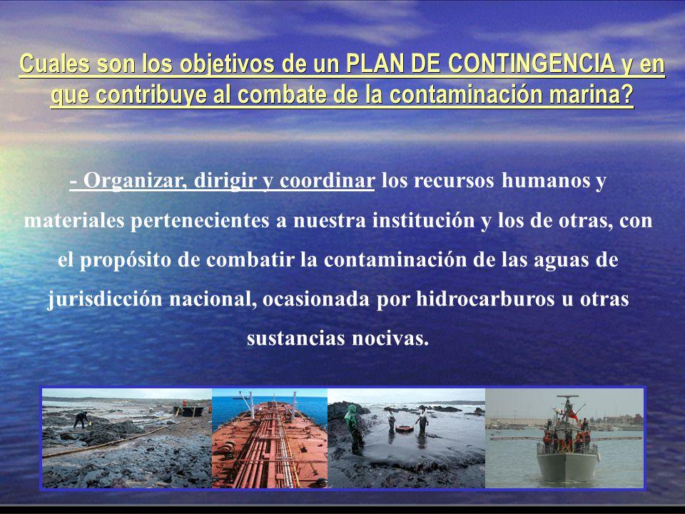 Cuales son los objetivos de un PLAN DE CONTINGENCIA y en que contribuye al combate de la contaminación marina