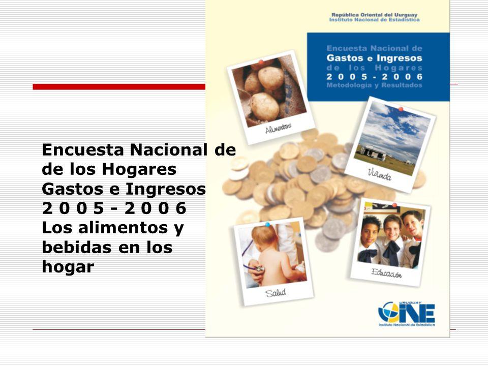 Encuesta Nacional de de los Hogares Gastos e Ingresos 2 0 0 5 - 2 0 0 6 Los alimentos y bebidas en los hogar