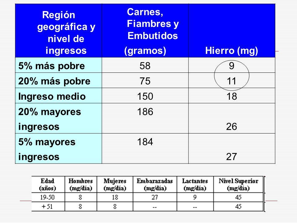 Región geográfica y nivel de ingresos Carnes, Fiambres y Embutidos