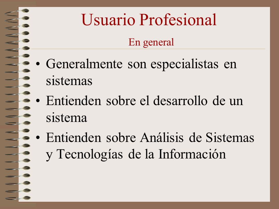 Usuario Profesional En general