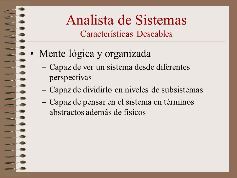 Analista de Sistemas Características Deseables