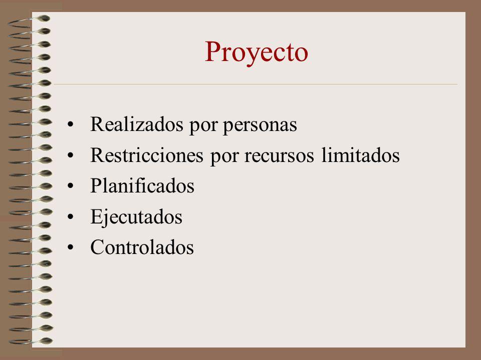 Proyecto Realizados por personas Restricciones por recursos limitados