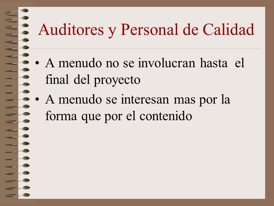 Auditores y Personal de Calidad