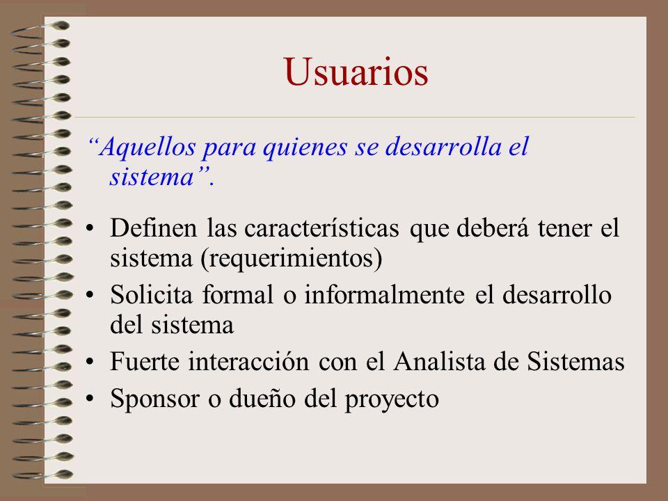 Usuarios Aquellos para quienes se desarrolla el sistema . Definen las características que deberá tener el sistema (requerimientos)