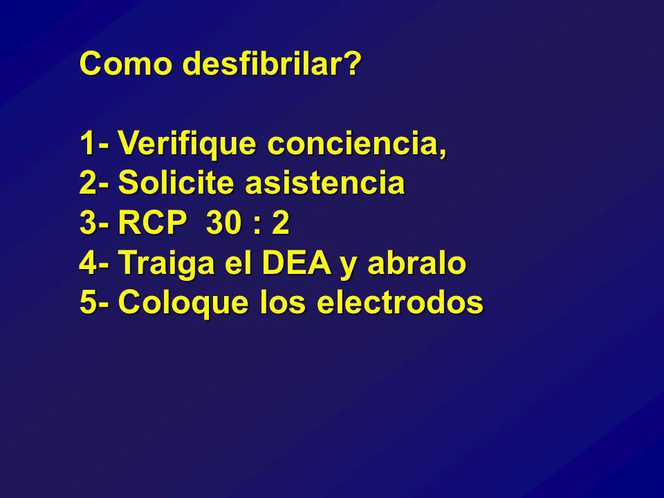Como desfibrilar 1- Verifique conciencia, 2- Solicite asistencia. 3- RCP 30 : 2. 4- Traiga el DEA y abralo.