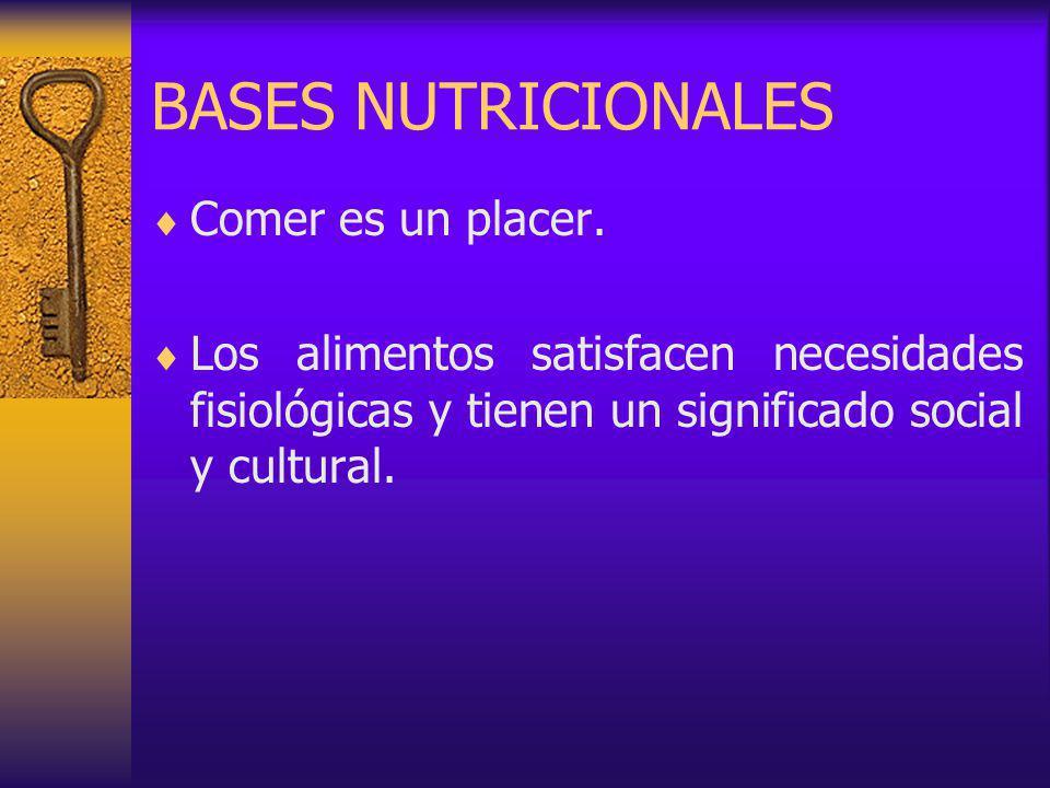 BASES NUTRICIONALES Comer es un placer.