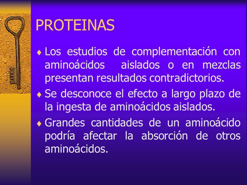 PROTEINAS Los estudios de complementación con aminoácidos aislados o en mezclas presentan resultados contradictorios.