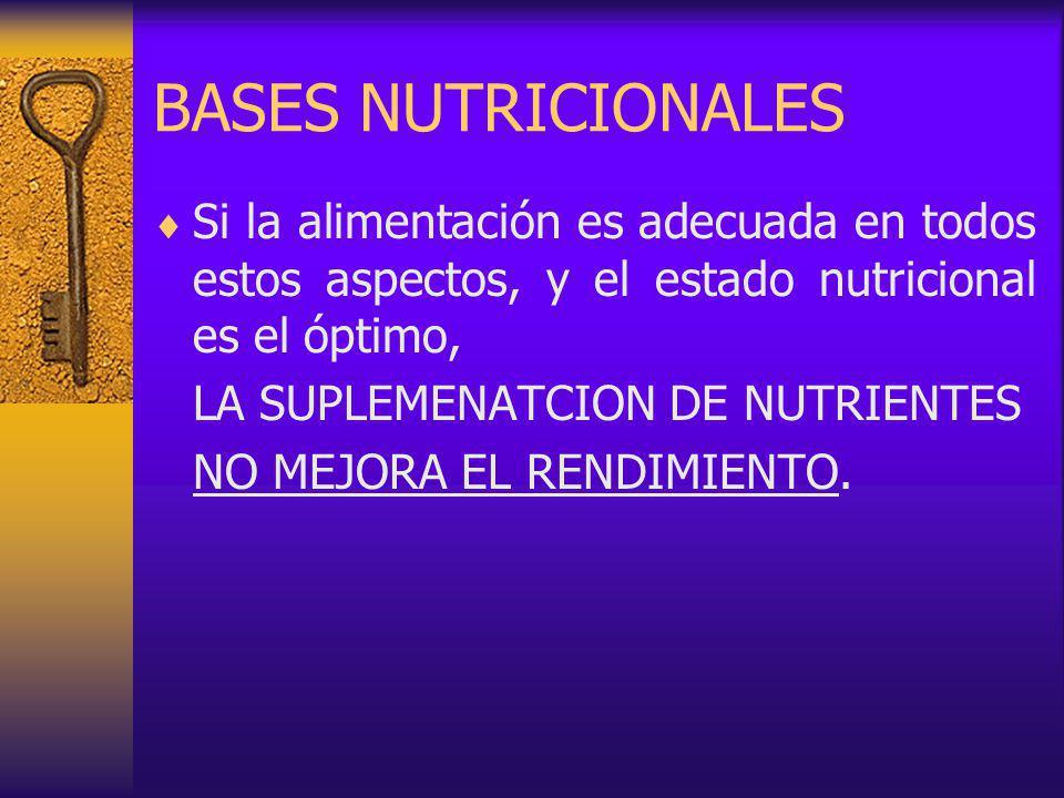 BASES NUTRICIONALES Si la alimentación es adecuada en todos estos aspectos, y el estado nutricional es el óptimo,