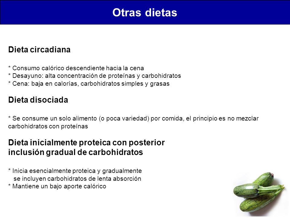 Otras dietas Dieta circadiana Dieta disociada