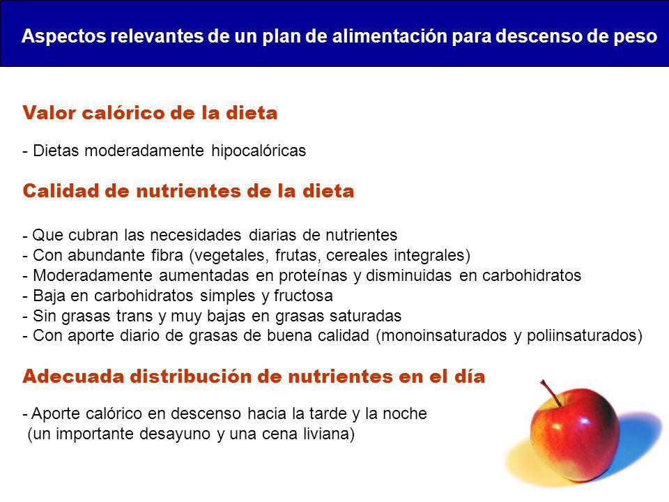 Aspectos relevantes de un plan de alimentación para descenso de peso