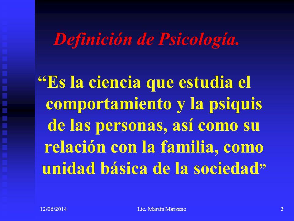 Definición de Psicología.