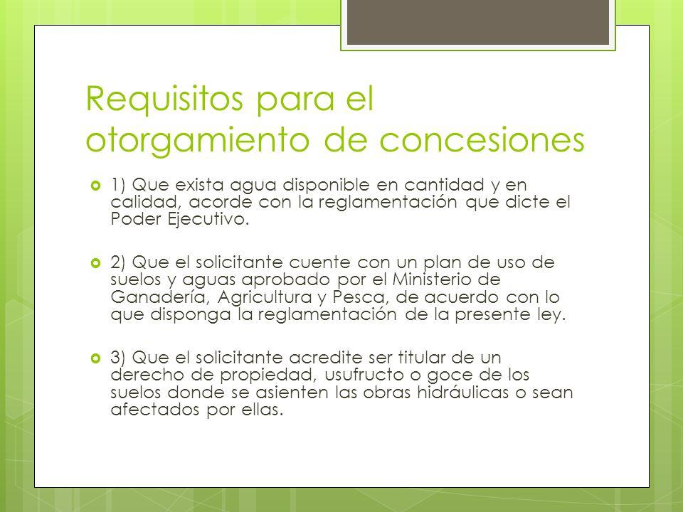 Requisitos para el otorgamiento de concesiones