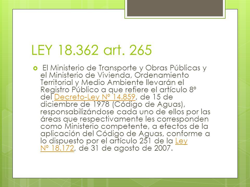 LEY 18.362 art. 265