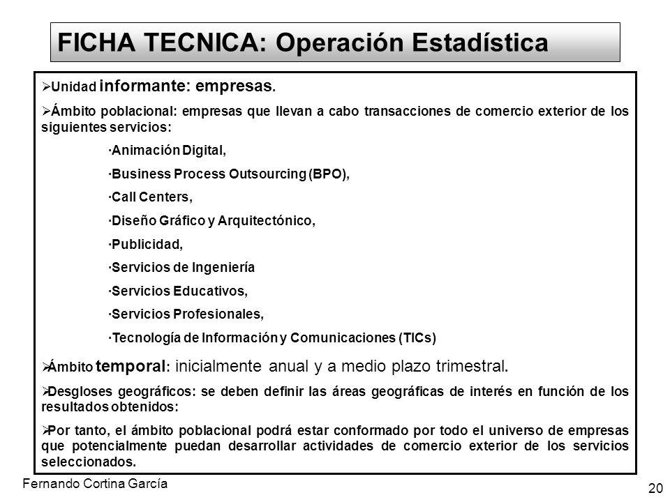 FICHA TECNICA: Operación Estadística