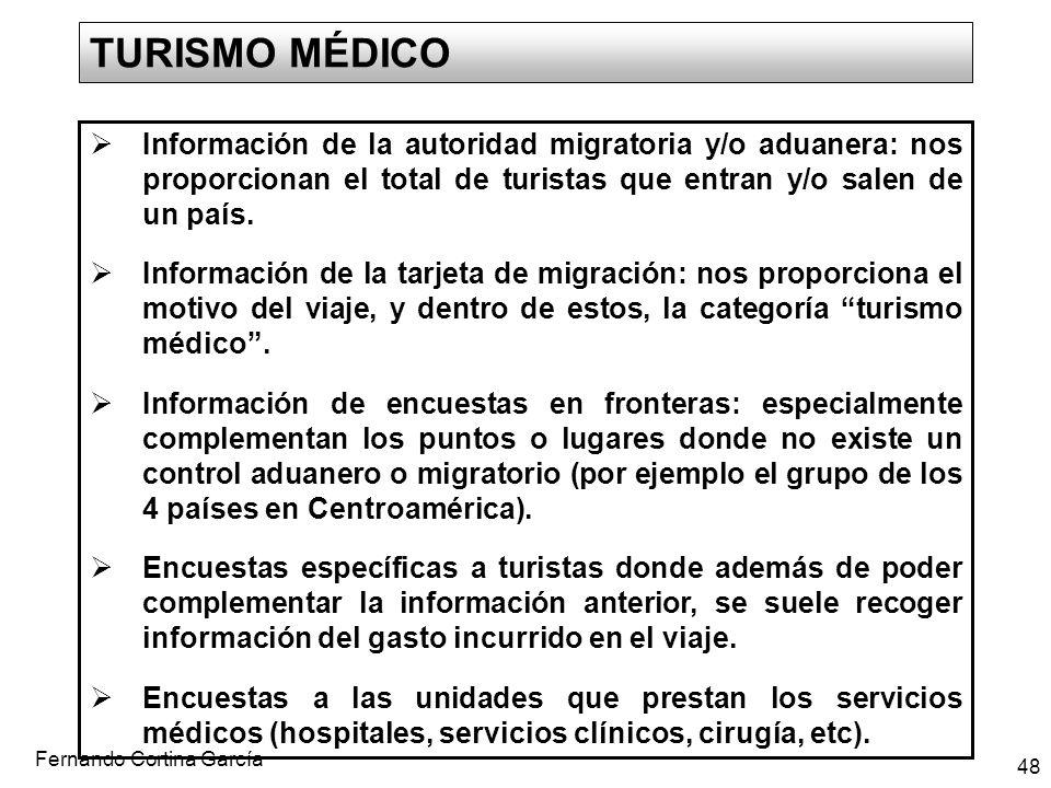 TURISMO MÉDICO Información de la autoridad migratoria y/o aduanera: nos proporcionan el total de turistas que entran y/o salen de un país.