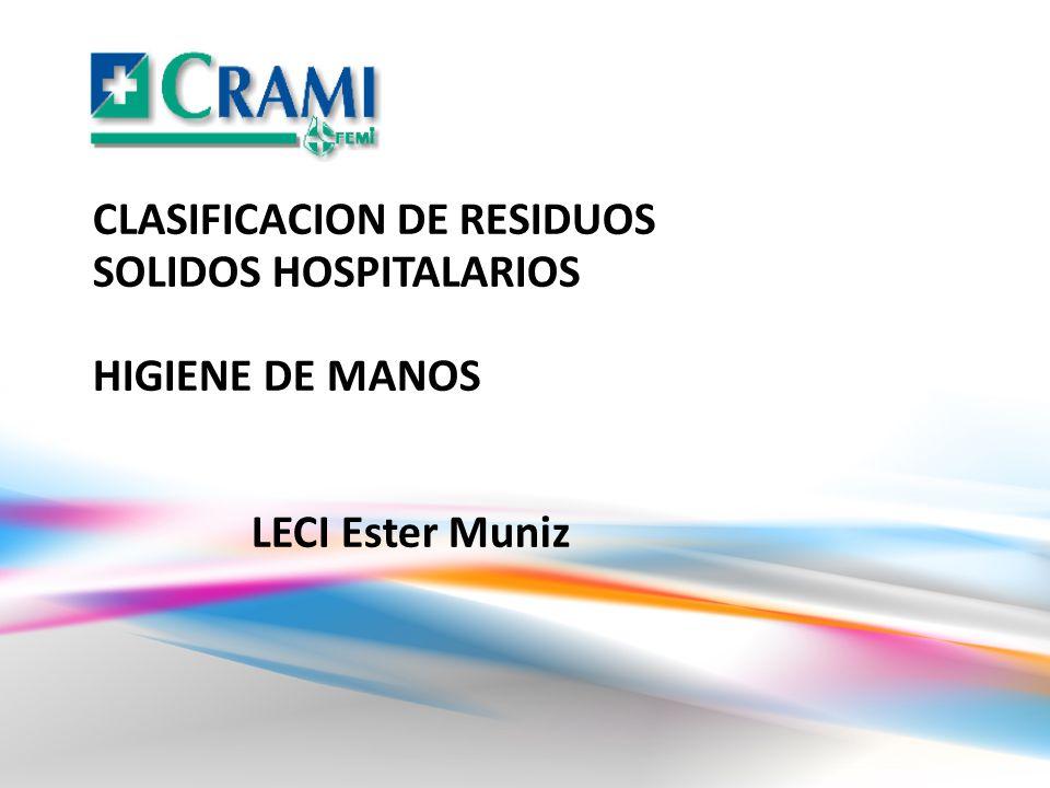 CLASIFICACION DE RESIDUOS SOLIDOS HOSPITALARIOS