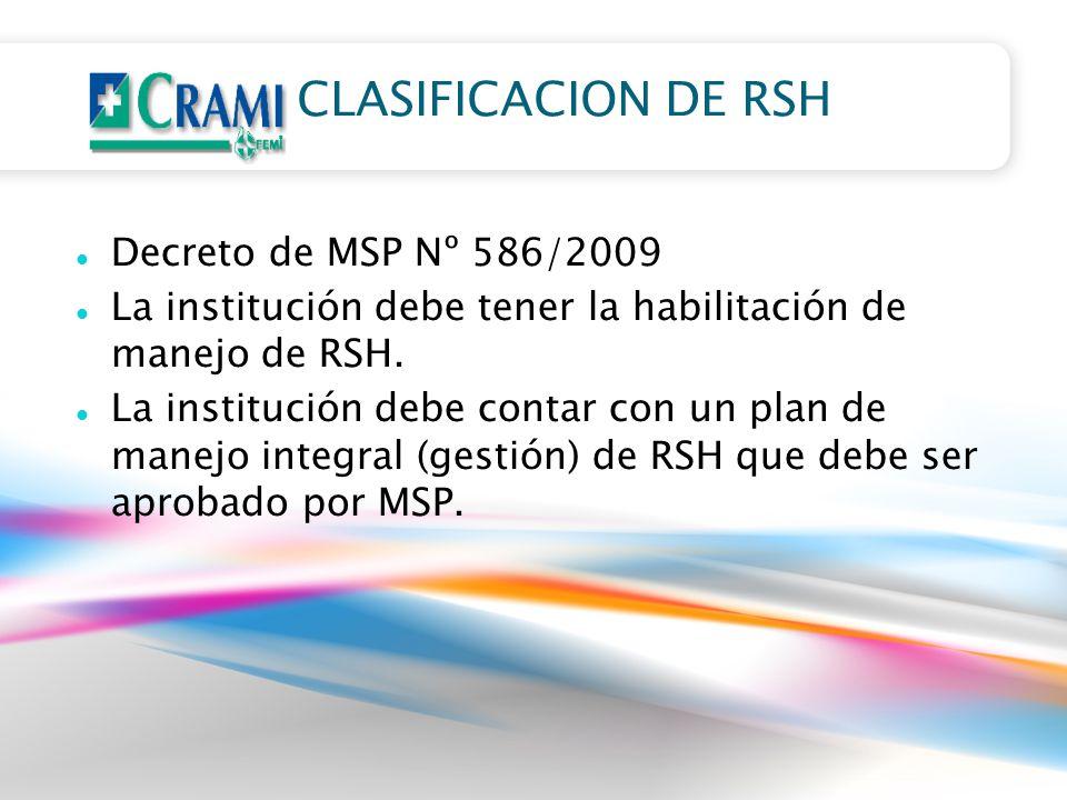 CLASIFICACION DE RSH Decreto de MSP Nº 586/2009